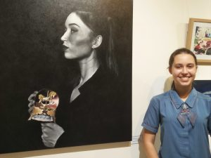 "Alexandra Leyshon with her award winning work ""Something Old""."