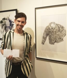 "Benjamin Dutton with his award winning work ""Denim Daze""."
